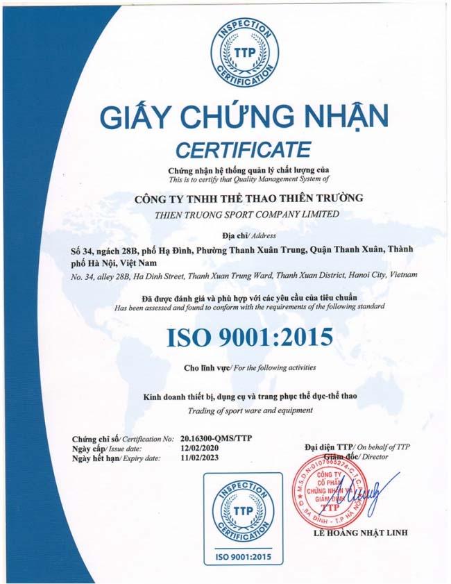 Mẫu chứng nhận Quy trình quản lý nhân sự theo tiêu chuẩn ISO